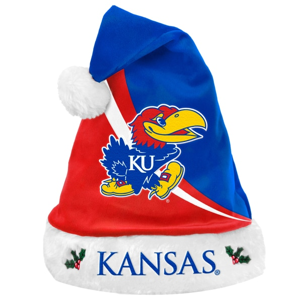 Forever Collectibles NCAA Kansas Jayhawks Polyester Swoop Santa Hat 12055529