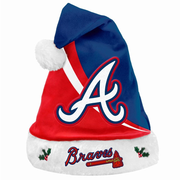 Forever Collectibles MLB Atlanta Braves Polyester Swoop Santa Hat 12055534