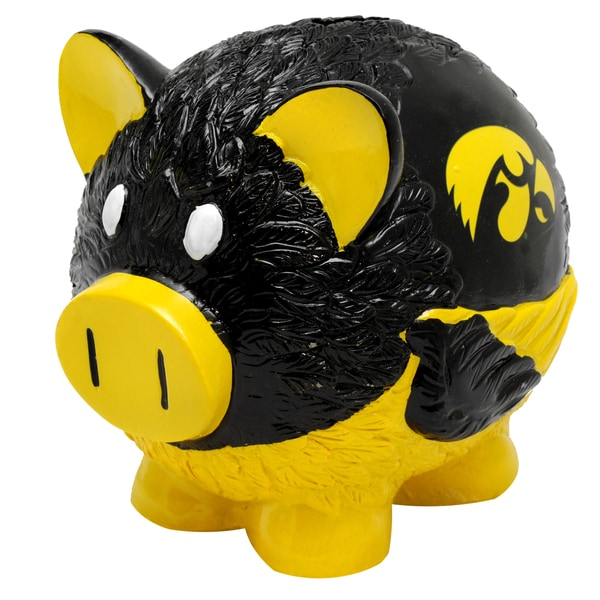 Forever Collectibles NCAA Iowa Hawkeyes Thematic Resin Piggy Bank 12055679