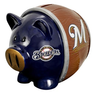 Forever Collectibles MLB Milwaukee Brewers Thematic Resin Piggy Bank