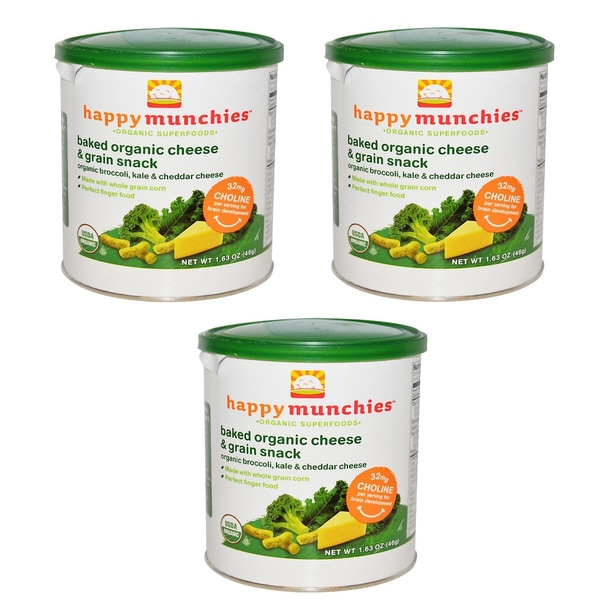 Happy Baby Broccoli, Kale & Cheddar Munchies (Pack of 3)