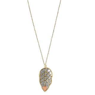 Handcrafted Copper and Brass Solitary Leaf Necklace (India)