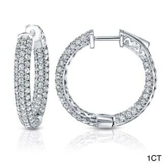 Auriya 14k Gold Small to Large Pave Diamond Hoop Earrings (J-K, I1-I2)