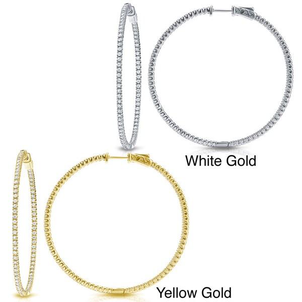 Auriya 14k Gold 5ct TDW Large Inside Out Diamond Hoop Earrings