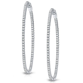 Auriya 14k Gold 5ct TDW Large Inside Out Diamond Hoop Earrings