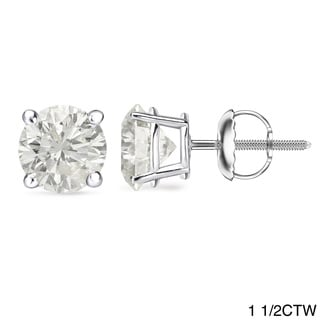 Auriya 18k Gold 1 to 2ct TDW GIA Certified Diamond Stud Earrings (J-K, I1-I2)