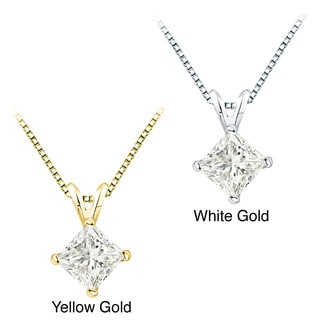 Auriya 14k Gold 1 1/2ct TDW Certified Princess Cut Diamond Necklace (I-J, I1-12)