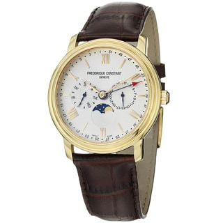 Frederique Constant Men's 'Business Time' Brown Leather Strap Watch
