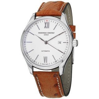 Frederique Constant Men's FC-303WN5B6OS 'Index' Silver Dial Leather Strap Watch