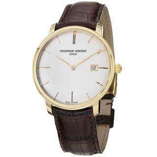 Frederique Constant Men's 'Slim Line' Gold-tone Brown Strap Watch