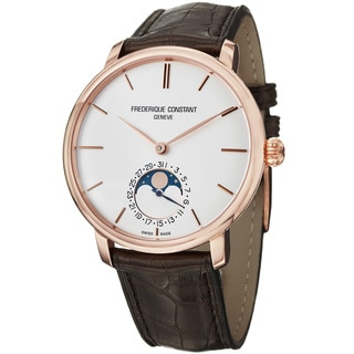 Frederique Constant Men's 'Slim Line' Moon Phase Brown Strap Watch
