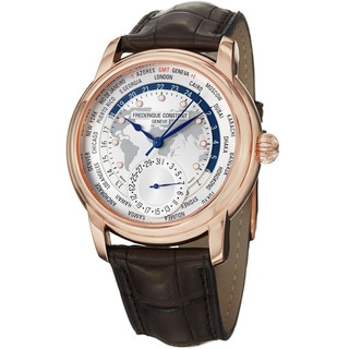 Frederique Constant Men's 'World Timer' Brown Leather Strap Watch