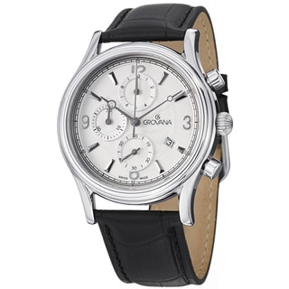 Grovana Men's Silver Dial Black Leather Strap Chronograph Watch