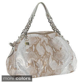'Alessandria' Metallic Snake Embossed Short Shoulder Bag