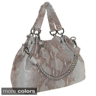'Alessandria' Snake Embossed Leather Chain Bucket Bag
