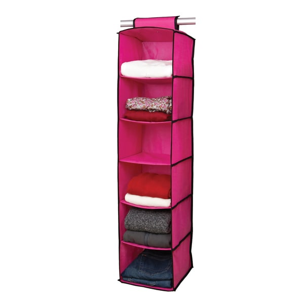 6-shelf Pink/ Black Sweater Organizer