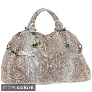 'Alessandria' Metallic Snake Embossed Leather Satchel