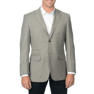 Nicole Miller Men's Light Grey Check Wool Sport Coat