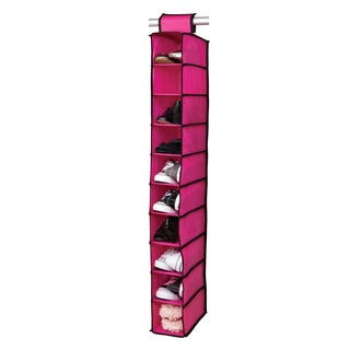 10-shelf Pink/ Black Shoe Organizer