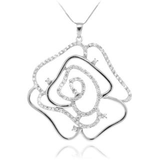 Sterling Silver Clear CZ Rose Outline Necklace