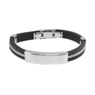Men's Rubber Stainless Steel Twist Bracelet
