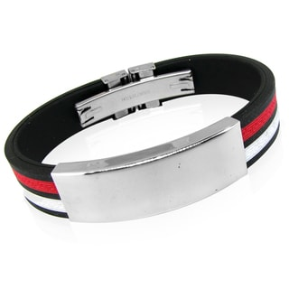 Stainless Steel Black White and Red Bracelet