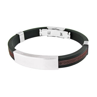 Men's Stainless Steel Black and Dark Red Bracelet
