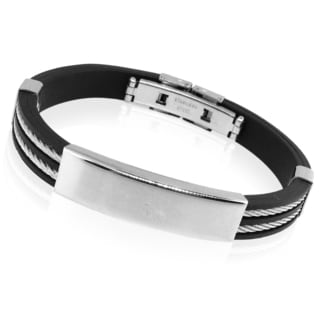 Men's Rubber Stainless Steel Double Twist Bracelet