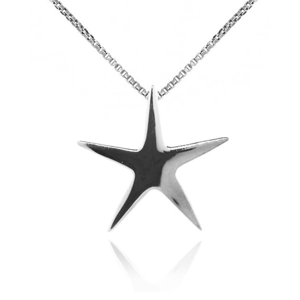 Sterling Silver Rhodium Plated Star Necklace