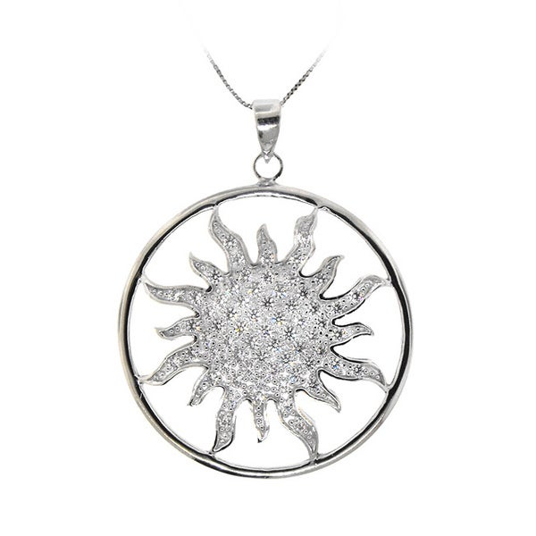 Sterling Silver Clear CZ Sun Pendant Necklace