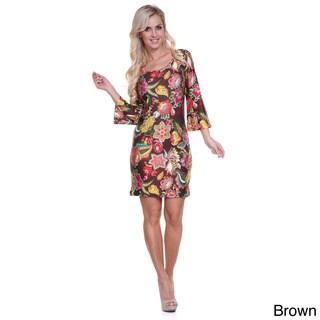 Women's 'Flower Fusion'  Bell Sleeves Mini Dress