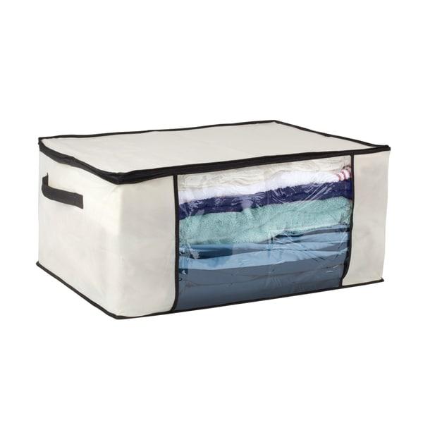 Cream/ Black Blanket Storage Bag - 15831430 - Overstock.com Shopping ...