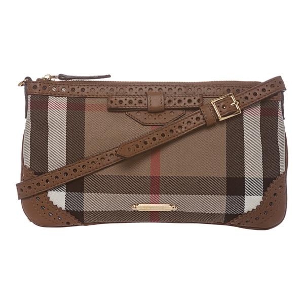 Burberry 'Peyton' Brown House Check/ Camel Shoulder Bag