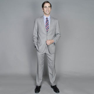 Carlo Lusso Men's Grey Pattern 2-button Single Breasted Suit