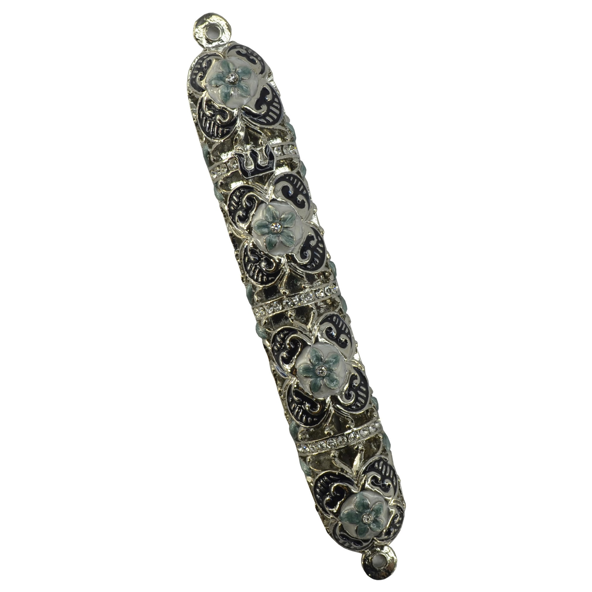 Three Star Exotic Fine Crafted Metal Silvertone, Blue, Pearl Flowers Jewels Mezuzah Case at Sears.com