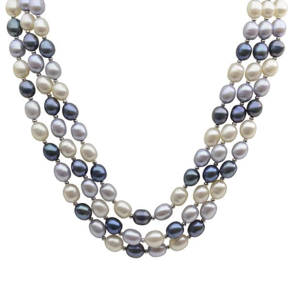 Pearls For You Sterling Silver White, Dyed Dk. Blue /Lt. Blue Freshwater Pearl and Silver Bead 3-Strand Necklace (7-7.5 mm)