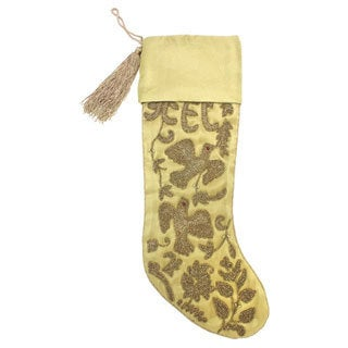 Handcrafted Gold Beaded Stocking (India)