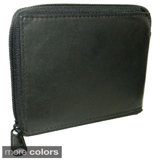 Men's Cowhide Leather Bi-fold Zipper Wallet
