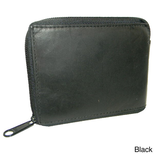 Men's Leather Bifold Two-Pocket Zipper Wallet