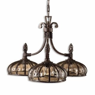 Galeana 3-light Antique Saddle Chandelier