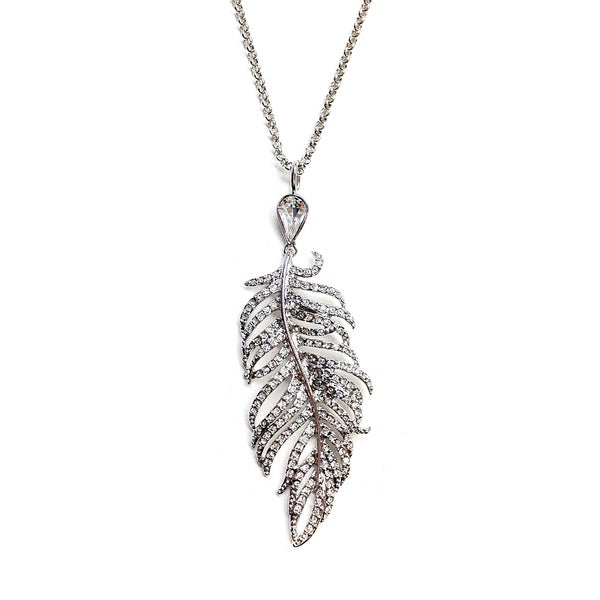Flight of Fancy Bold Silvertone and Crystal Feather Pendant Necklace