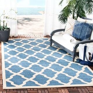 Safavieh Indoor/ Outdoor Courtyard Blue/ Beige Power-loomed Rug (2'7 x 5')