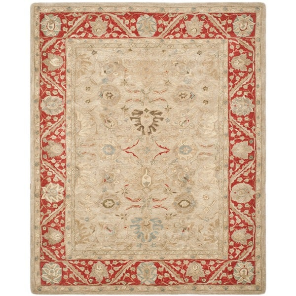 Safavieh Handmade Anatolia Taupe/ Red Wool Rug (8' x 10')