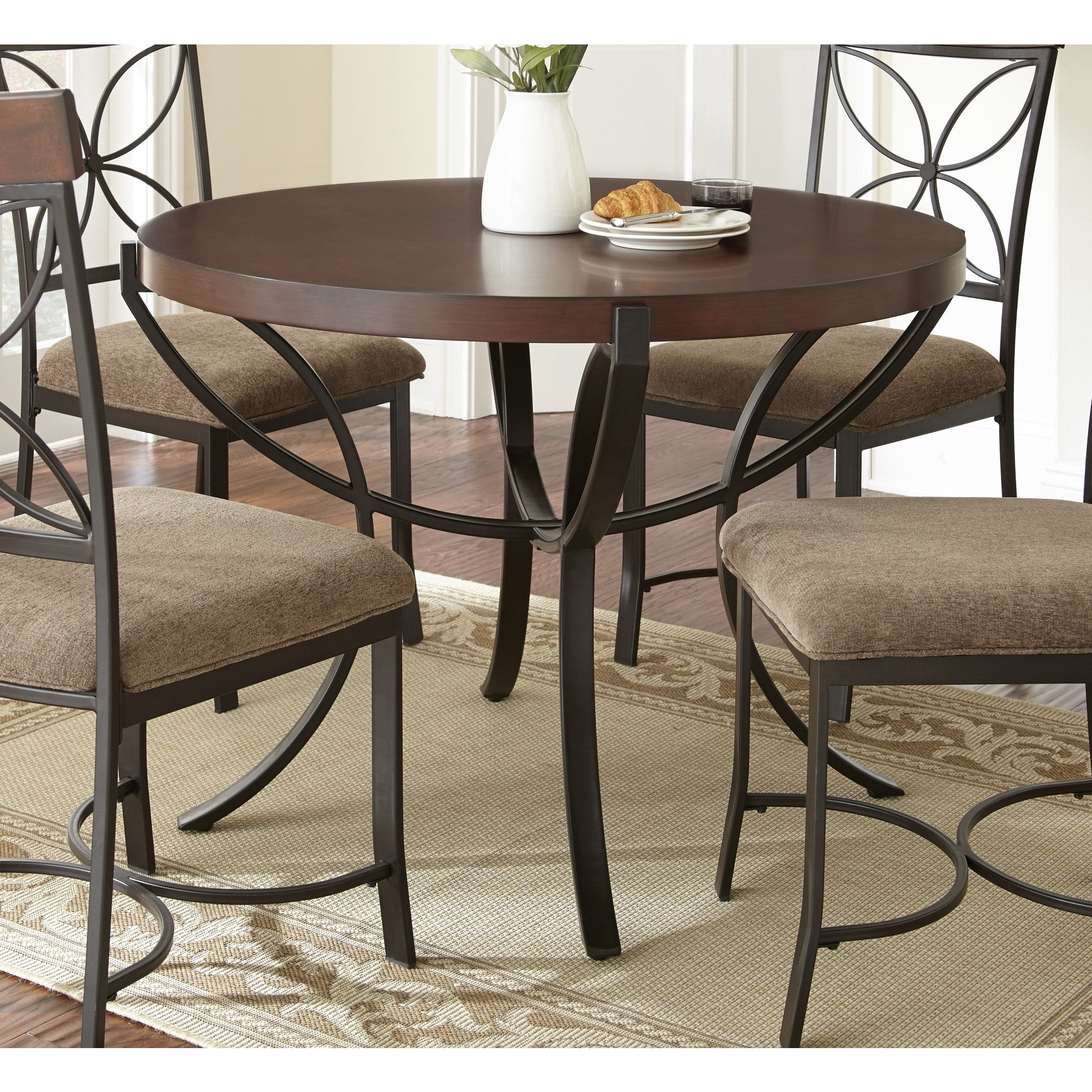 42 inch round dining table in oak and white contemporary dining