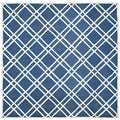 Safavieh Handmade Moroccan Cambridge Crisscross-pattern Navy/ Ivory Wool Rug (8' Square)