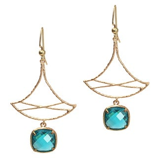 Pretty Little Style Goldtone Green Dangle Earrings