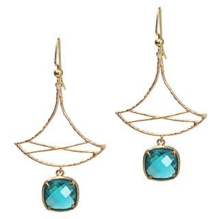 Pretty Little Style Goldtone Green Dangle Earrings