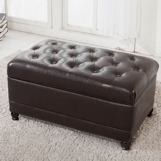 Classic Brown Tufted Storage Bench Ottoman