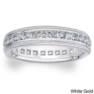 14k White/Yellow Gold 1ct TDW Milgrain Diamond Wedding Band (H-I, I1-I2)