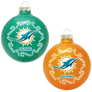 NFL Miami Dolphins Home and Away Glass Ornaments